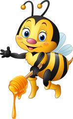Cartoon bee holding honey dipper