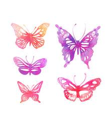 Amazing watercolor butterflies set