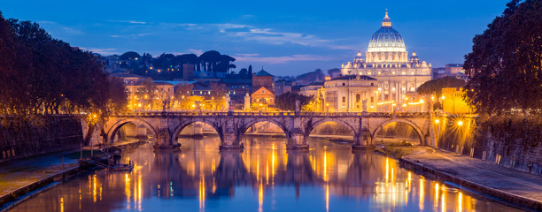 Stores photo Rome Vatican City, Rome, Italy, Beautiful Vibrant Night image Panorama of St. Peter's Basilica, Ponte Sant Angelo and Tiber River at Dusk in Summer. Reflection of The Papal Basilica of St. Peter