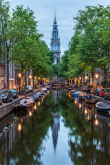 Photo sur Aluminium Amsterdam Amsterdam City, Illuminated Building and Canal at night, Netherlands