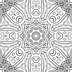Hand-drawn mandala for coloring, square background, lace ornament pattern, monochrome contour mandala, EPS 8