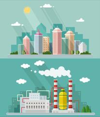Set of flat design. Urban landscape illustrations including down