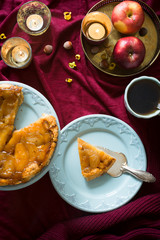 Classic french upside down apple tart Tarte Tatin. Selective focus.