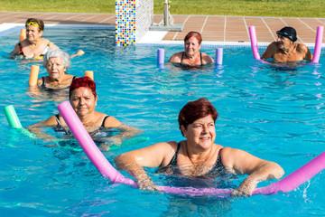 Group of senior citizens doing aqua gym.t