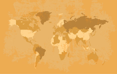 World map grunge old style vector