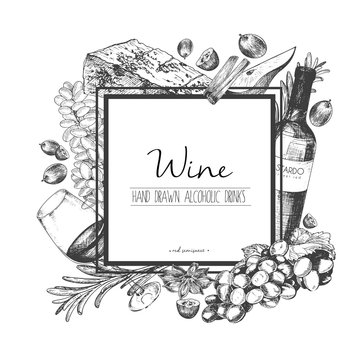 Vector hand drawn illustration of wine and apetizers. Square border composition.