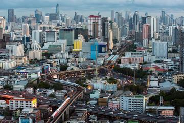 Traffic in Bangkok cityscape