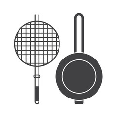 Barbecue brazier and pan vector icons. Kitchen appliance vector brazier pictogram in outline design. Cooking pan isolated on white background