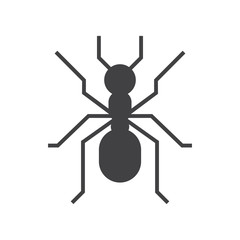 Forest ant vector outline icon. Garden insect silhouette.