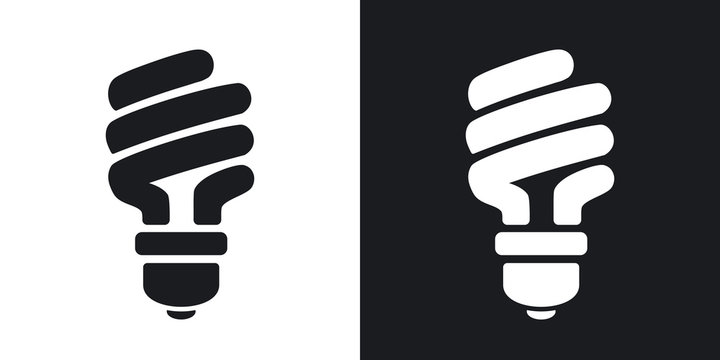 Vector energy saving fluorescent light bulb icon. Two-tone version on black and white background