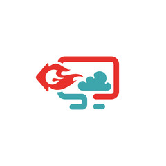 Download and cloud icon vector illustration.