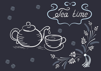 Design elements signboard for cafe with ornament, tea cup, kettl
