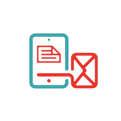 Document file mail icon on tablet laptop vector illustration