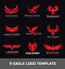Eagle Logo set,Animal logo collection,bird logo,Phoenix logo,Vector Logo template