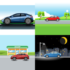 Digital vector red and blue auto car icon set, sport car on road, shop, and in the night.