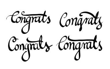 Calligraphic Congrats lettering vector