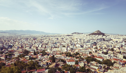 View of Athens and Mount Lycabettus at sunrise, Greece