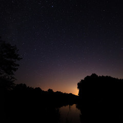 Night sky with bright stars. Against the background of the pond