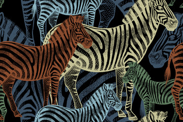 Seamless pattern with African animals zebra.