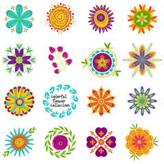 Set of colorful decorative fantasy flowers for patterns and compositions.