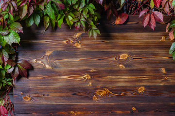 Vertical wooden background made of planks framed by autumn leaves