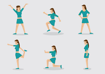 Sexy Long Hair Lady Exercising Vector Character Illustration