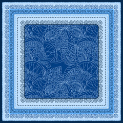 Bandana print with design for silk neck scarf. Blue color. Traditional ethnic pattern Paisley. Print in 4 colors for textiles, fabrics, home design.