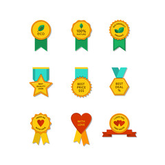 Set of flat medals and tags