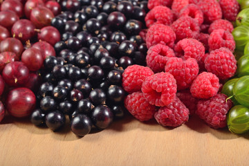 Various kinds of fresh berries close up
