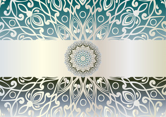 beautiful unusual background with iridescent silver and turquoise colors. Circular floral ornament. Hand drawn vector stock illustration
