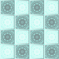Seamless quadratic pattern with ethnic round ornament - mandalas in white and gray color scheme, on a turquoise background