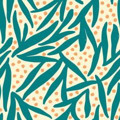 Floral seamless pattern in teal and orange.