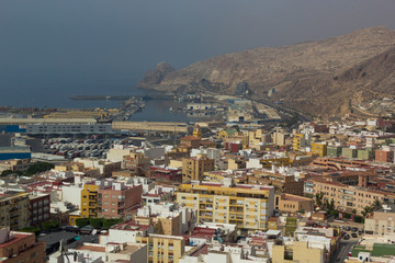 View of the port from the Alcazaba fortress in Almeria, Spain