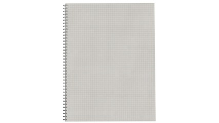 Blank spiral bound notebook with squared paper and pencil isolated on white