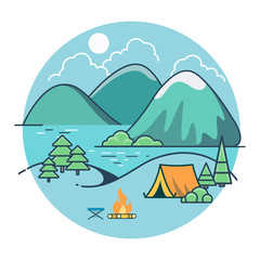 Linear Flat Tent beach lake mountain vector country side nature