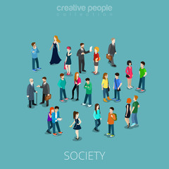 Isometric flat Society members 3d people vector illustration.