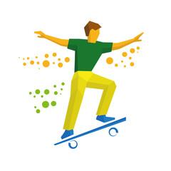 Skateboarder jump on skateboard. Skater doing tricks