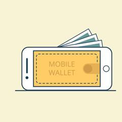 Linear Flat Smart phone Valet Mobile screen vector money