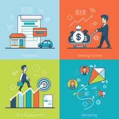 Linear Flat business man money vector Bills Goal Marketing