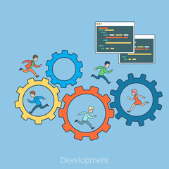 Linear Flat development People cogwheel Program code vector