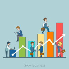 Linear Flat Grow Business people working vector illustration