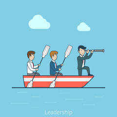 Linear Flat Business Leadership captain man rowing boat vector