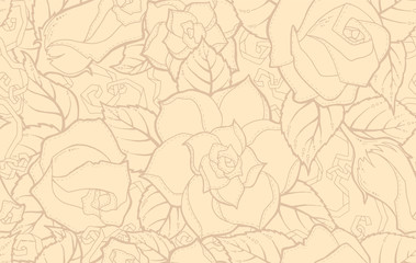 Seamless ornamental pattern with stylized abstract roses flowers and tribal paisley. Ethnic floral design template can be used for wallpaper, pattern fills, textile, fabric, wrapping, surface textures