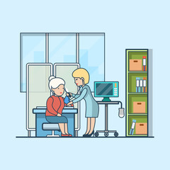 Linear Flat neurology interior doctor patient vector Health care
