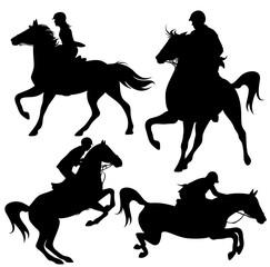 horsemen fine vector silhouettes set