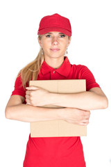 Red girl delivery hold parcel