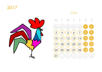 Rooster calendar 2017 for your design. July month.