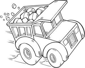Doodle Dump Truck Vector Illustration Art