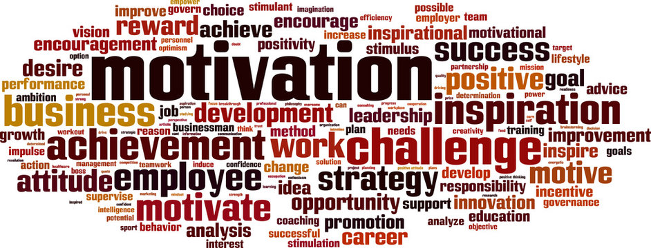 Motivation word cloud concept. Vector illustration