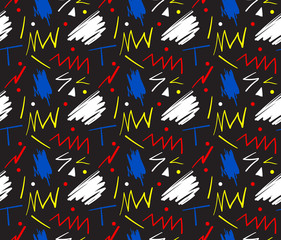 Seamless hand drawn pattern in fun retro style. Vector illustration